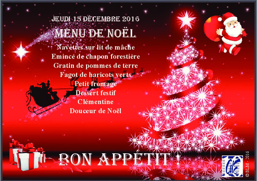 Un Bon Menu De Noel.Menu De Noel Du Jeudi 15 Decembre 2016 Caisse Des Ecoles